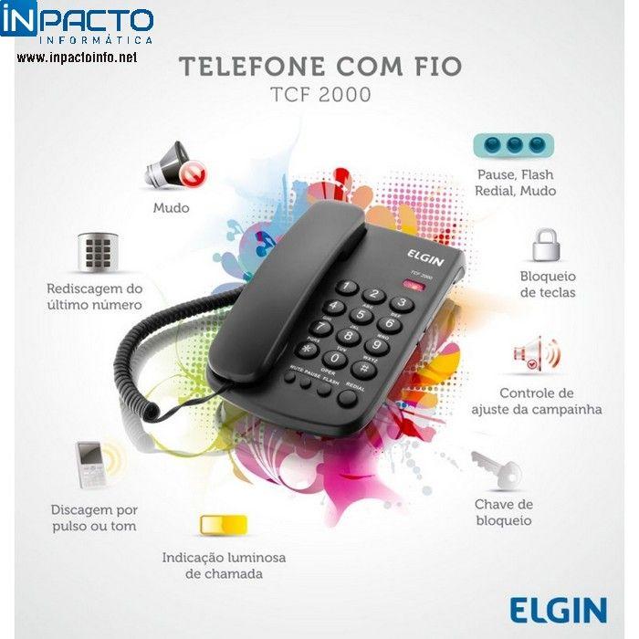 TELEFONE ELGIN COM FIO 2000 PRETO - In-Pacto Informática