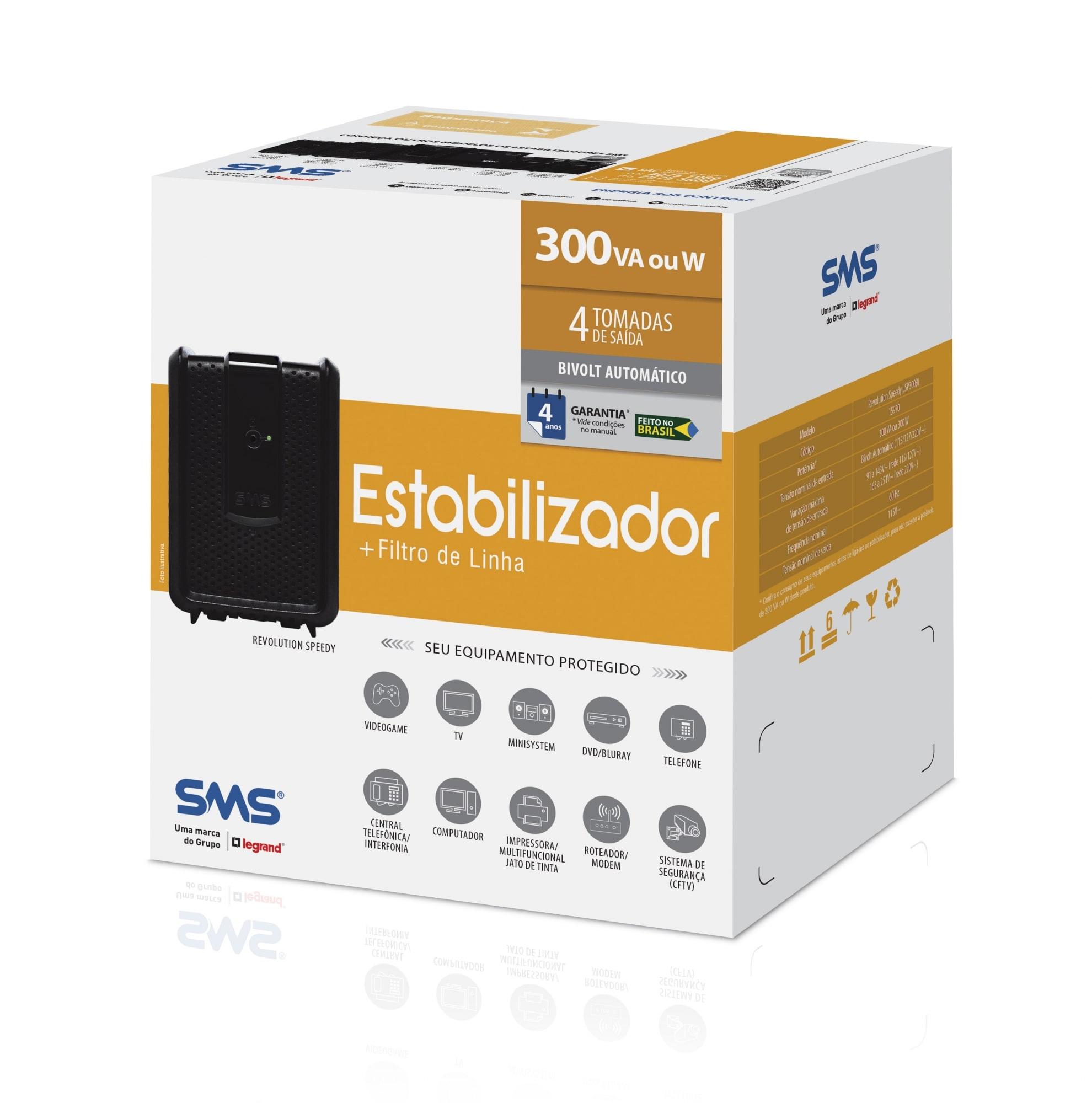 Estabilizador SMS Revolution Speedy 300VA Bivolt - uSP300Bi (15970)