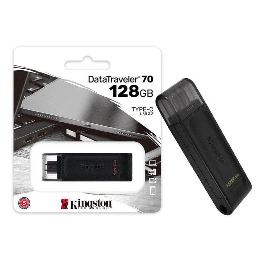 Pen Drive 128GB Kingston Datatraveler 70 Gen 1 USB-C 3.2 - DT70-128GB