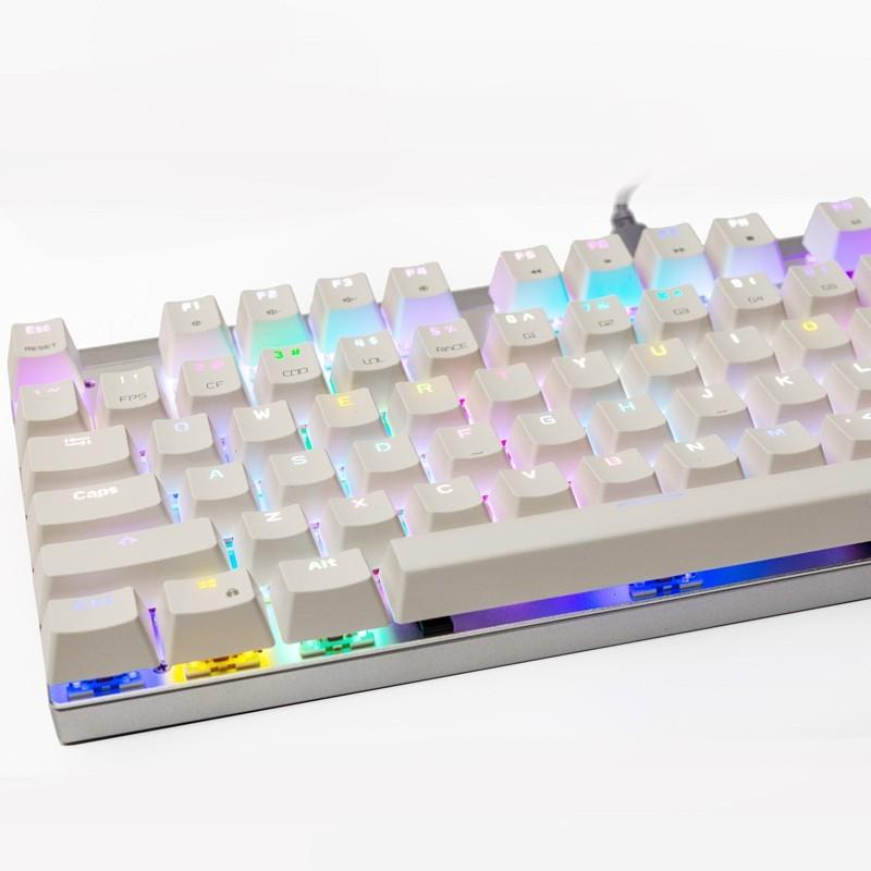 Teclado Mecânico Gamer Motospeed CK101 Branco, RGB, Switch Outemu Azul - FMSTC0009AZL