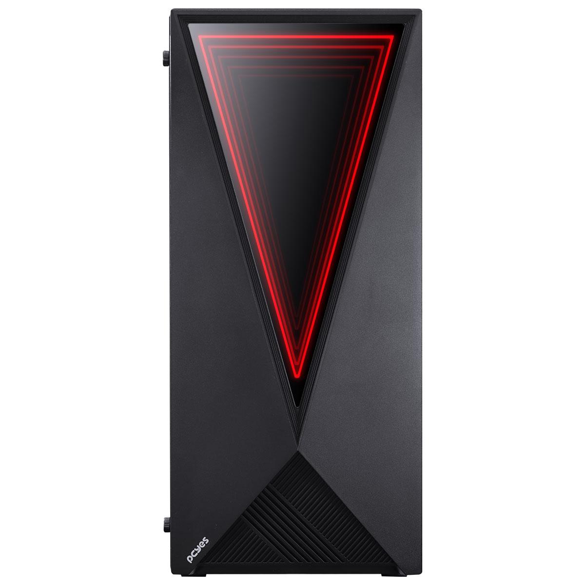 Gabinete Gamer PCYES Vector, Mid Tower, Com 3 Fans, Vidro Temperado, Black, Sem Fonte, VCPTRGB3FV
