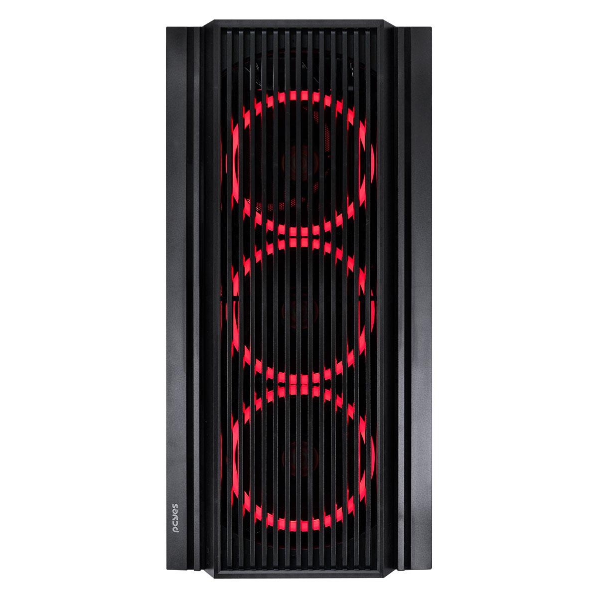 Gabinete Gamer PCYES Atmos, 4x Fans LED Vermelho, Preto - ATPTVM4FCV (33874)