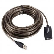 Cabo Extensor USB A Macho x USB A Fêmea MD9, com Repetidor, 10 metros, Preto