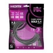 Cabo HDMI 5 Metros V1.4 Ultra HD 4K - Pix 018-0514