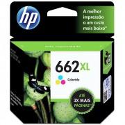 Cartucho HP 662XL Colorido Original (CZ106AB) Para HP DeskJet 2516, 3516, 3546, 2546, 1516, 4646, 2646