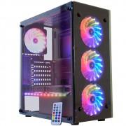 Gabinete Gamer K-mex Atlantis III, Mid Tower, Com 3 Fans RGB, Vidro Temperado, Black, Sem Fonte - CG-03N9
