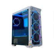 Gabinete Gamer K-mex White Trooper, Mid Tower, RGB, com FAN, Lateral em Acrílico, Branco - CG-02B1