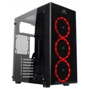 GABINETE GAMER REDRAGON THUNDERCRACKER MID TOWER COM 3 FANS RGB VIDRO TEMPERADO BLACK GC-605