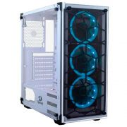 Gabinete Gamer Redragon Wheel Jack White, Mid Tower, S/ Fans, Lateral e Frontal em Vidro, Branco - GC-606WH