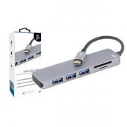 HUB USB 5+ 3x1 UBS 3.0 Leitor de Cartões SD/Micro SD - 018-7452