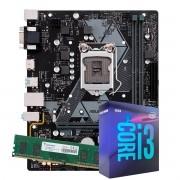 Kit Upgrade intel Corei3-9100 3.6Ghz, Placa Mãe Asus H310M-E R2.0/BR LGA 1151, 4GB DDR4