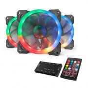 Kit Ventoinha Redragon RGB 3x120mm c/ Controle, GC-F008