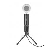 Microfone de Mesa Trust Madell, Conexão 3.5mm, com Tripé e Proteção de Vento, Botão Mute - 21672