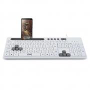 Teclado Multilaser GK120, com Suporte de Smartphone, USB, com Fio, Branco, ABNT2 - TC264