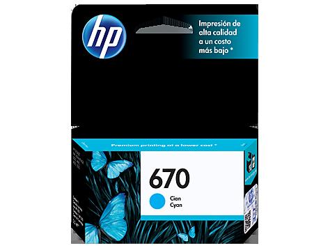 Cartucho HP 670 Ciano / Azul Original (CZ114AB) Para HP Deskjet 4615, 4625, 5525