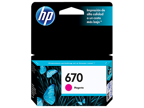 Cartucho HP 670 Magenta / Vermelha Original (CZ115AB) Para HP Deskjet 4615, 4625, 5525