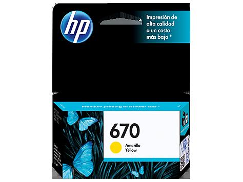 Cartucho HP 670 Amarelo Original (CZ116AB) Para HP Deskjet 4615, 4625, 5525