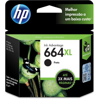 Cartucho HP 664XL preto Original (F6V31AB) Para HP Deskjet 2136, 2676, 3776, 5076, 527