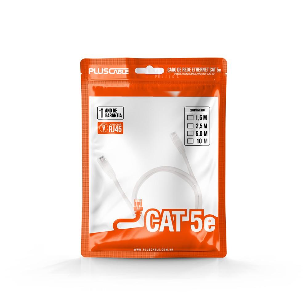 Cabo de Rede Cat.5E 5M PC-ETHU50WH Patch Cord Pluscable