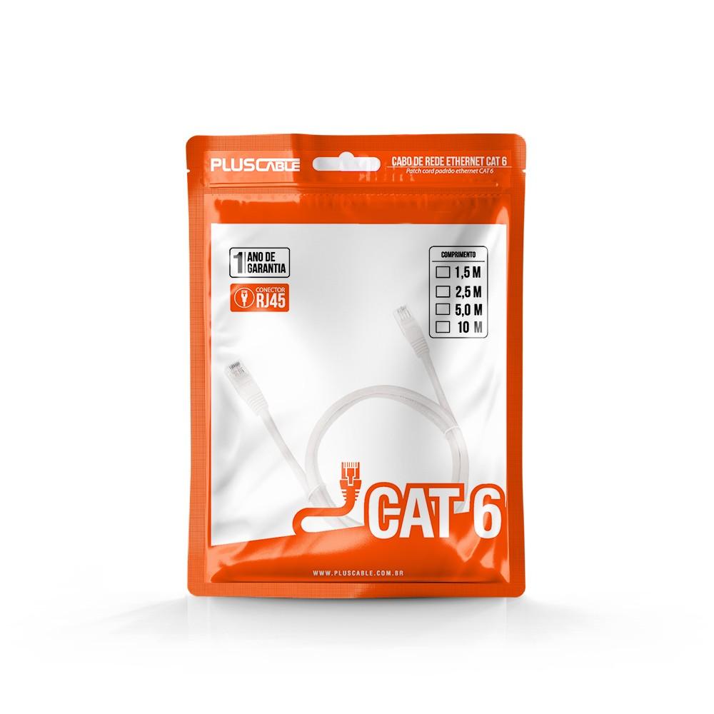 Cabo de Rede Cat.6 2.5M PC-ETH6U25WH Patch Cord Pluscable