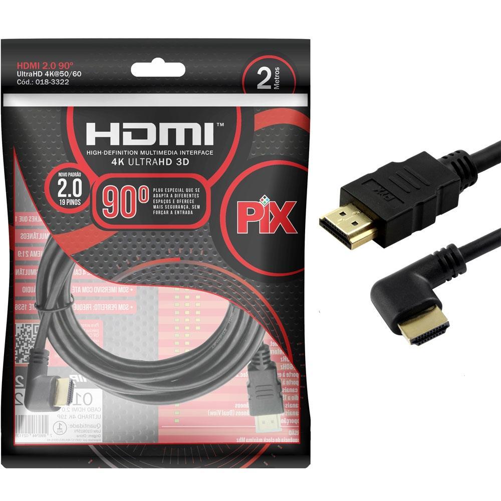 Cabo HDMI PIX, 2 Metros, 2.0, 4K, 19 Pinos, Plug 90 Graus - 018-3322