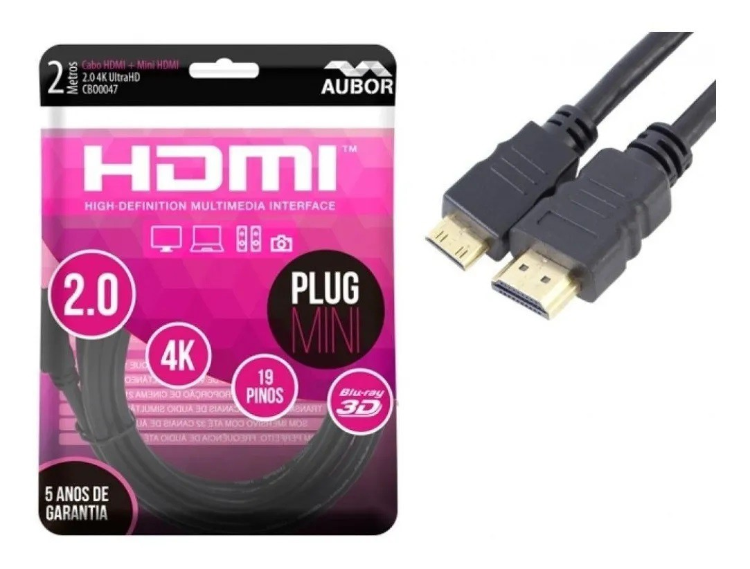 Cabo Mini Hdmi X Hdmi, 2 Metros, 2.0, 4k, Ultra Hd - Aubor