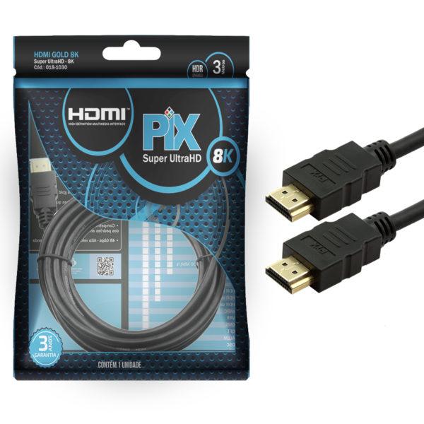 Cabo PIX HDMI Gold 2.1, 8K, HDR, 19 Pinos, 3 Metros - 018-1015