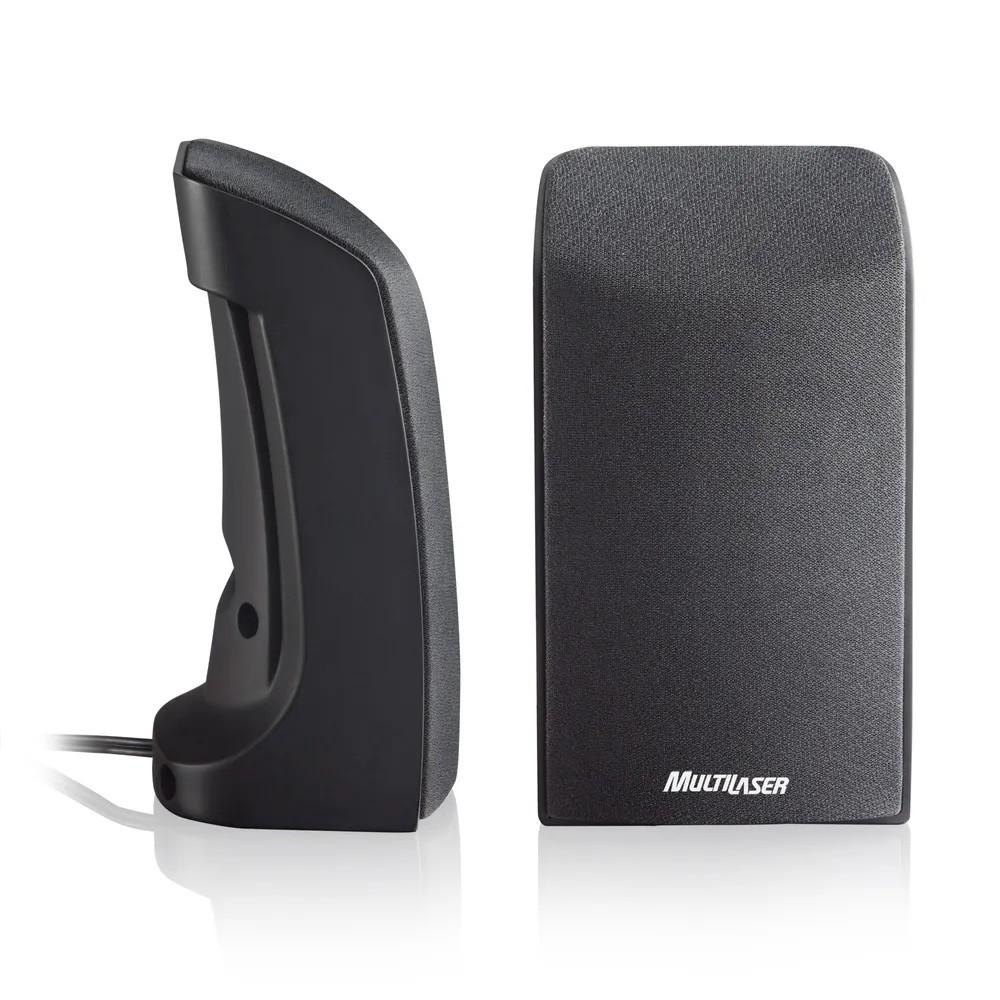 Caixa De Som Multilaser 2.0, 1W RMS, USB, Preta - SP093
