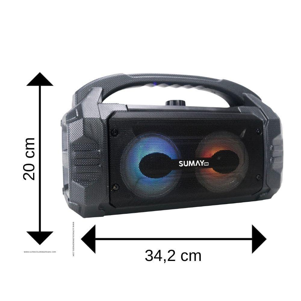Caixinha de Som Bluetooth Sumay Sunbox, com Microfone - SM-CSP1304