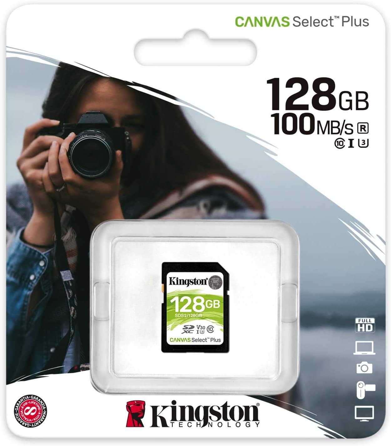 Cartão de Memoria Classe 10 Kingston SDS2/128GB SDXC 128GB 100R/85W UHS-I Canvas Select PLUS