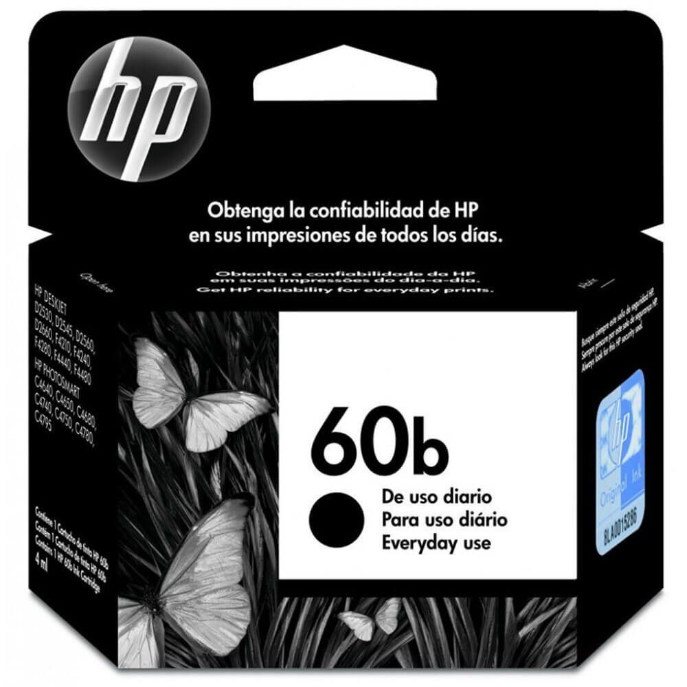 Cartucho HP 60B preto original everyday 4.5ml (CC636WB) Para HP Deskjet D1660/D2660/D2530/D2545/D2560/F4280/F4480/F4580/C4680/C4780