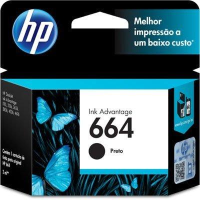 Cartucho HP 664 preto Original (F6V29AB) Para HP Deskjet 2136, 2676, 3776, 5076, 5276