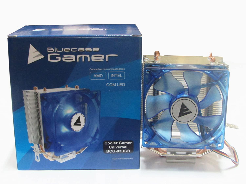 Cooler Gamer Universal Alumínio e Cobre com LED Azul, BLUE CASE BCG-03UCB CASE