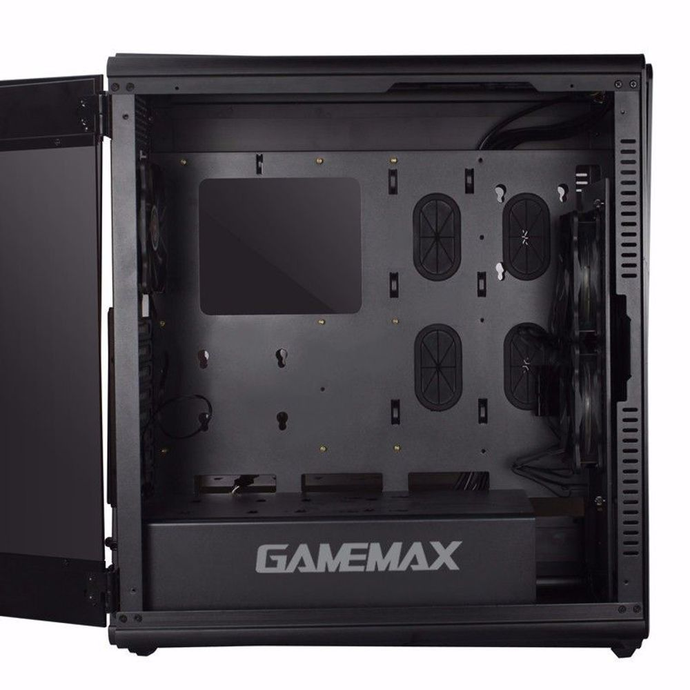 Gabinete Gamer Full Tower Gamemax Alumínio Escovado Preto 1 Lateral Acrílico (1 fumê) 2x USB 3.0 2x USB 2.0