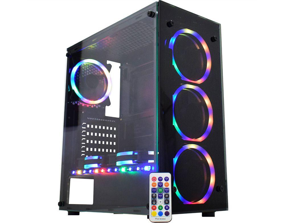 Gabinete Gamer K-mex Atlantis Sync, Mid Tower, ARGB, com FAN, Lateral em Vidro - CG-05N9