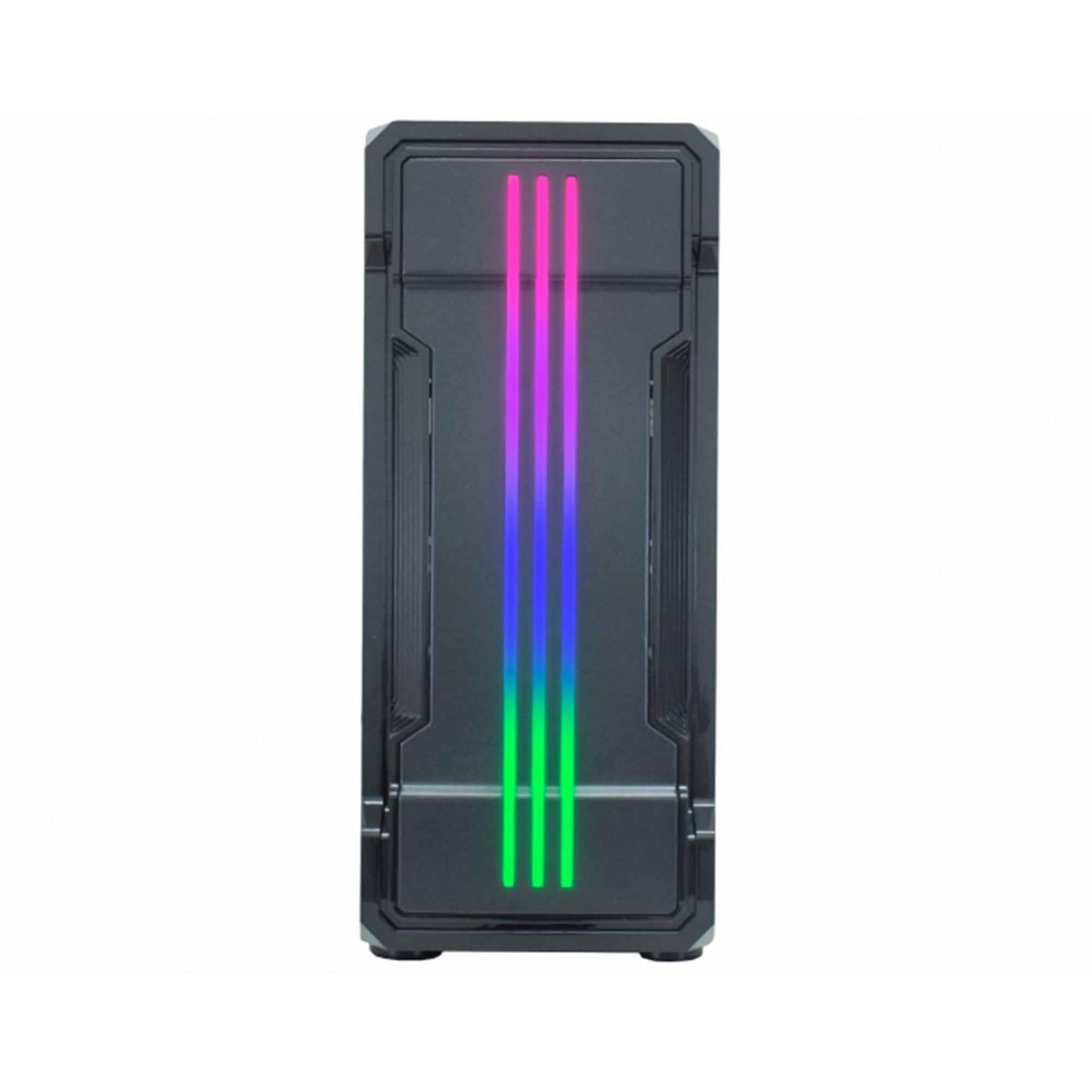 Gabinete Gamer K-Mex Bifrost II, Lateral em Vidro, Led RGB Frontal, Sem Fonte e Fan - CG-01KB