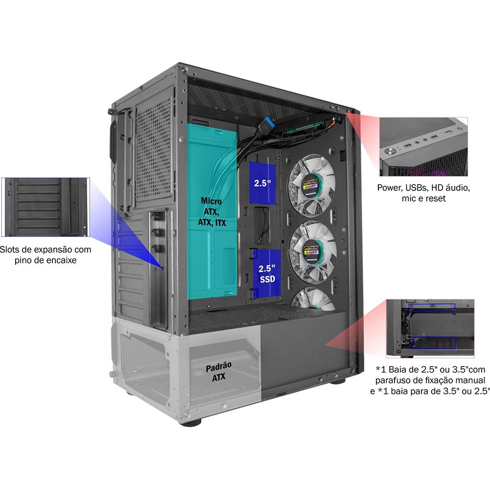Gabinete Gamer K-Mex Boreas III, RGB, Preto, ATX, Sem Fonte, 3 Fans - CG-A1Z5