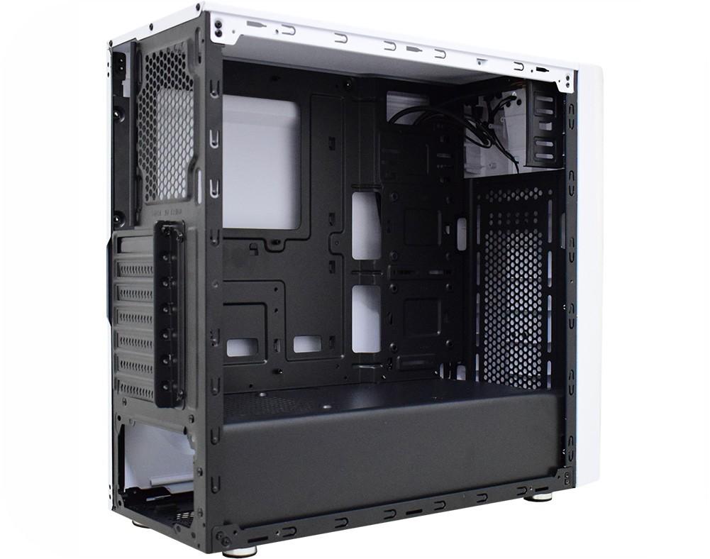 Gabinete Gamer K-mex Odyssey RGB, Mid Tower, Lateral de Acrílico, White, Sem Fonte e Fan - CG-05RD