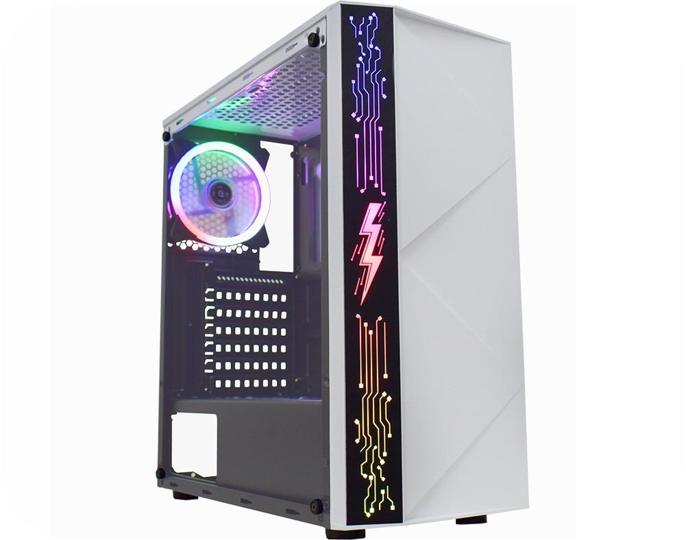 Gabinete Gamer K-MEX Riaden CG-12A8, Painel RGB, Rainbow, Sem Fan, Branco
