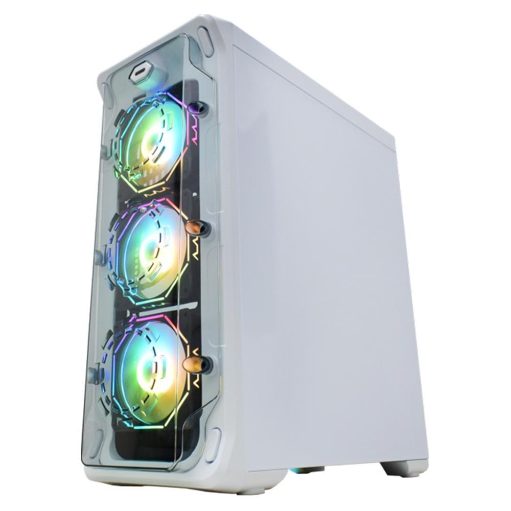 Gabinete Gamer K-Mex White Trooper Polygon, RGB,  ATX, 3 FANs Branco - CG-07B1