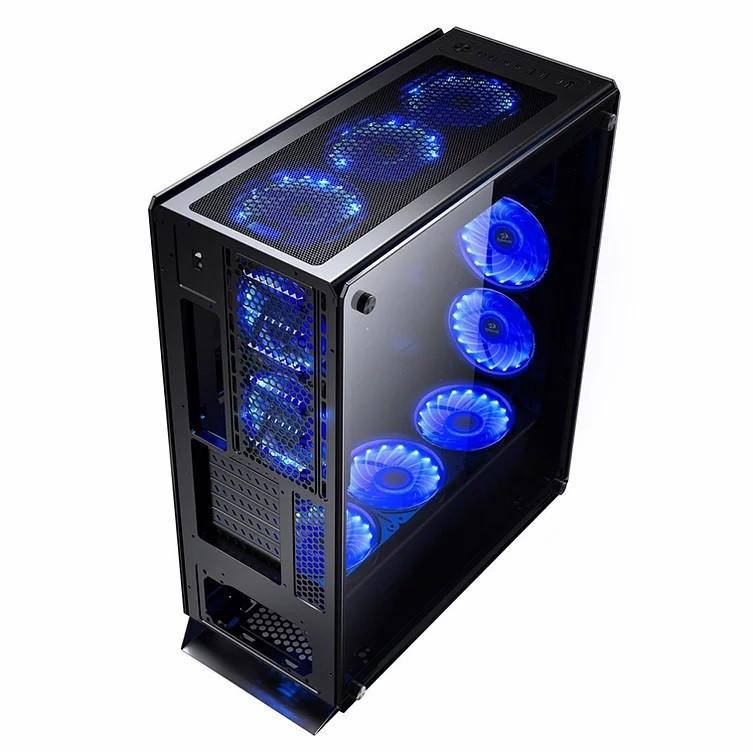 Gabinete Gamer Redragon, Ironhide RGB, Full Tower, Vidro Temperado, Black, Sem Fonte, Com 6 Fans, RD-GC-801