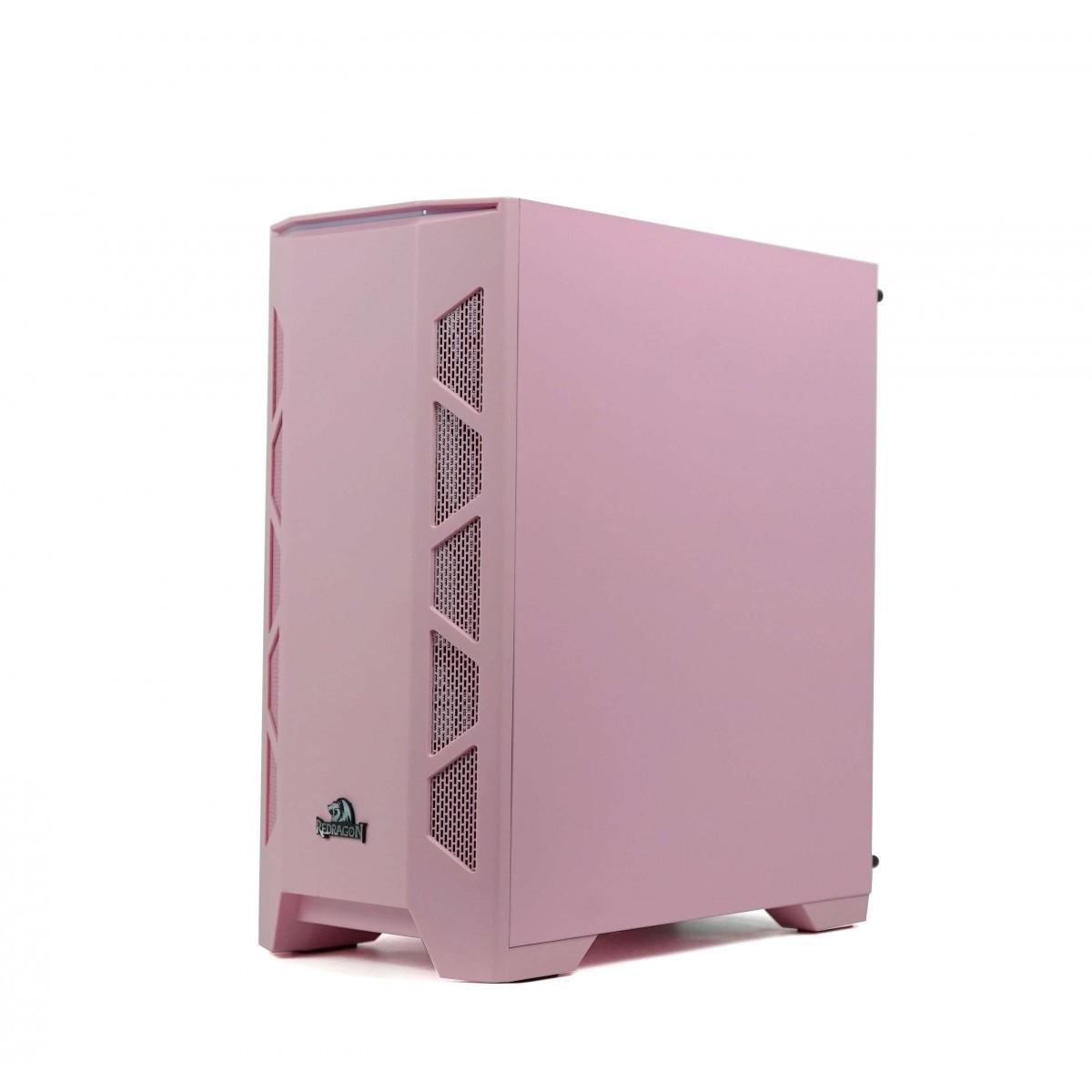 Gabinete Gamer Redragon Starscream, Mid Tower, Vidro Temperado, Pink, Sem Fonte e Fan - GC-610P