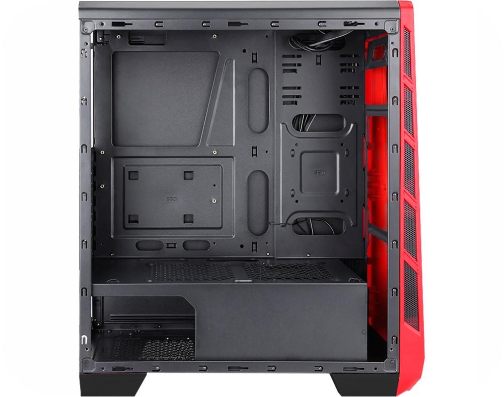 Gabinete K-Mex Gamer CG-06P9 Vamp III LED RGB, Lateral em Full Acrílico, com 3 Fans, Mid Tower Preto
