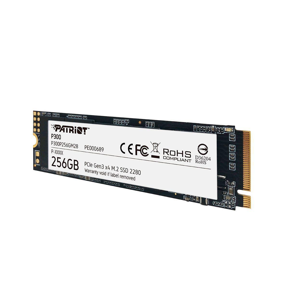 SSD Patriot P300 256GB, M.2 2280 PCIe Gen3X4, Leitura: 1700MB/s e Gravação: 1100MB/s - P300P256GM28