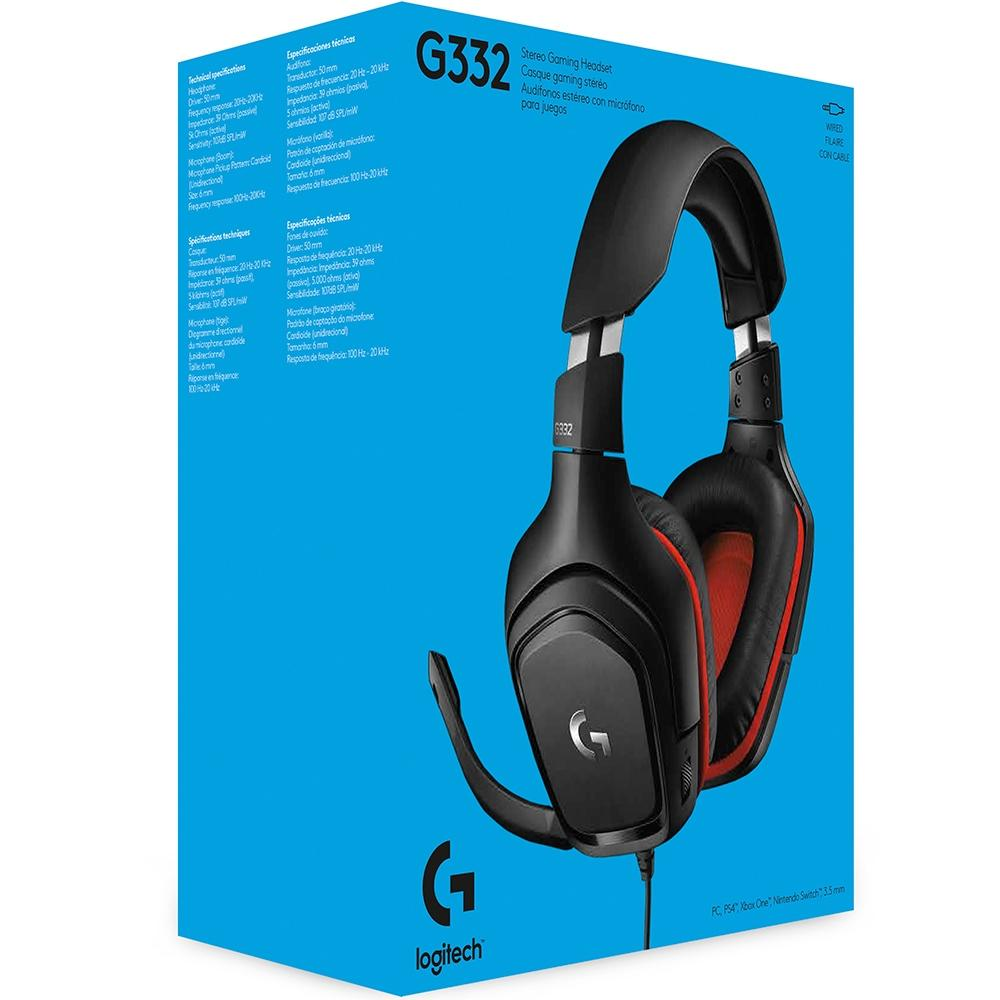 Headset Gamer Logitech G332, Stereo, Drivers 50 mm, Multi-Plataforma - 981-000755