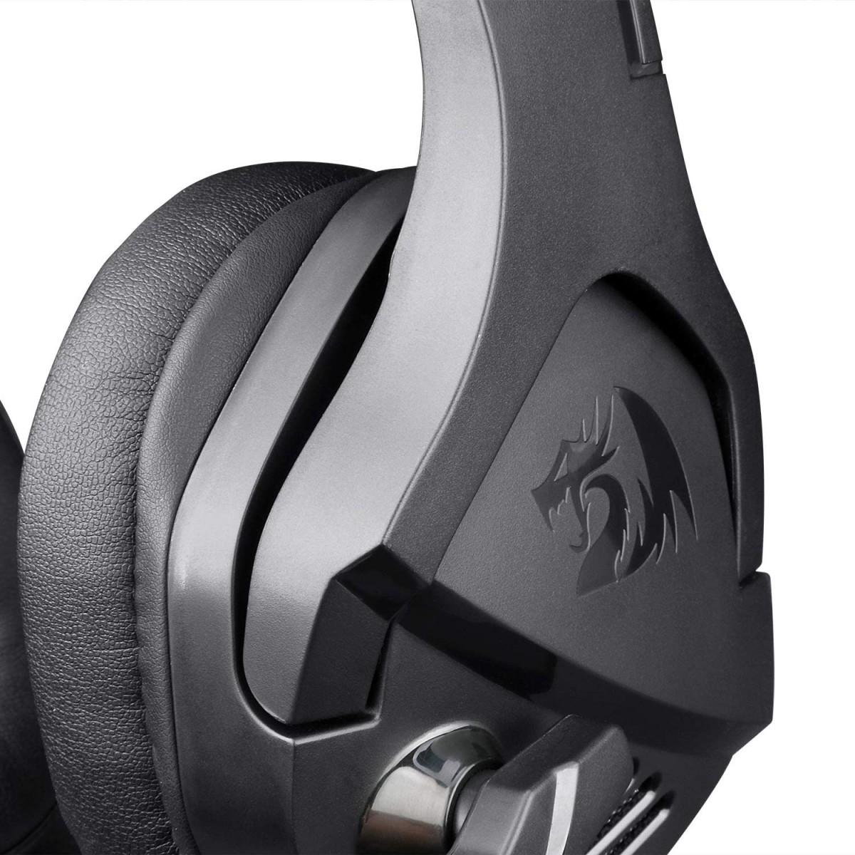 Headset Gamer Redragon Theseus, 3.5mm + USB, Black - H250