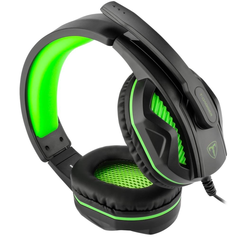Headset Gamer T-Dagger Cook, Drivers 40mm, Preto e Verde - T-RGH100