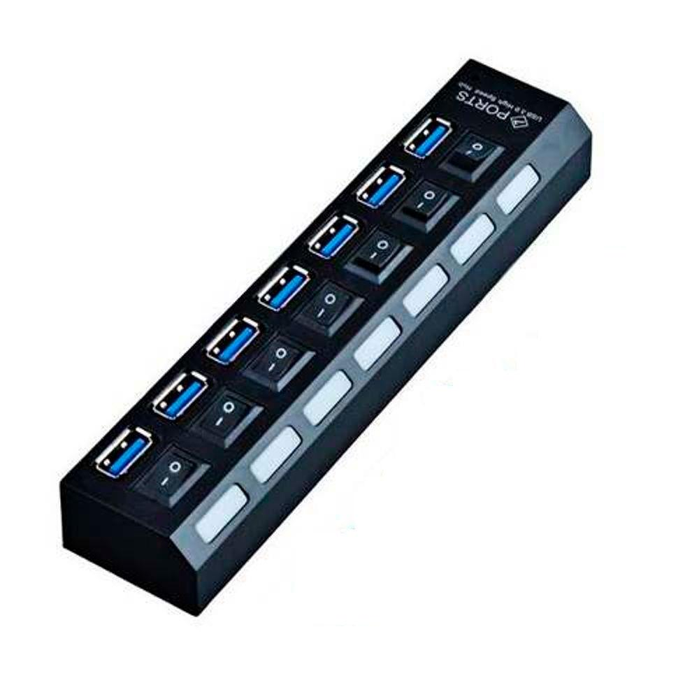 Hub MD9 7 portas USB 3.0 + Interruptor de Energia - XC-HUB7