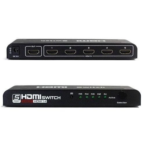 Hub Switch Hdmi 5X1, 5 Entradas 1 Saída Lotus Com Fonte