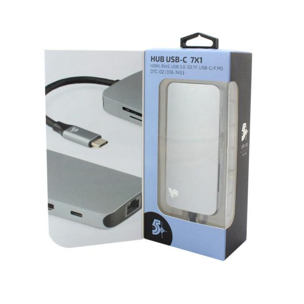 HUB USB 5+ 7x1 UBS 3.0 Leitor de Cartões SD/Micro SD, HDMI, RJ45, USB-C - 018-7453